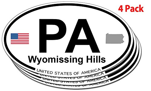 Wyomissing Hills, Pennsylvania Oval Sticker - 4 pack