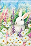 Cheap White Bunny Spring House Flag Flowers Field Yard Banner 28″ x 40″