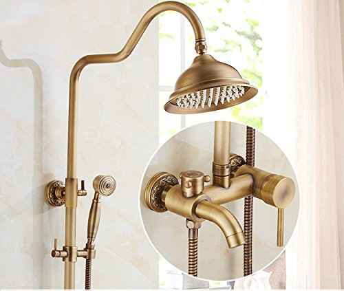 L GFEI Antique shower nozzle set   European style all copper bathroom, retro bathroom, lift shower, sprinkler, shower faucet,U