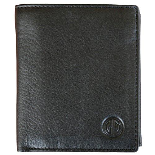 LINDENMANN Herren Portemonnaie / Geldbeutel Herren, Rindleder matt, hoch, schwarz