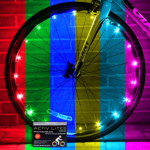 Activ Life 2 Tire Pack LED Bike Wheel Lights with Batteries Included Get 100 Brighter and Visible from All Angles for Ultimate Safety Style