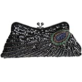 Cinyifan Women's Sequins Beaded Peacock Evening Bag Clutch Party Bag