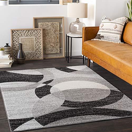 "Artistic Weavers Acee Midcentury Modern Geometric Area Rug, 7'10"" x 10'3″, Black"