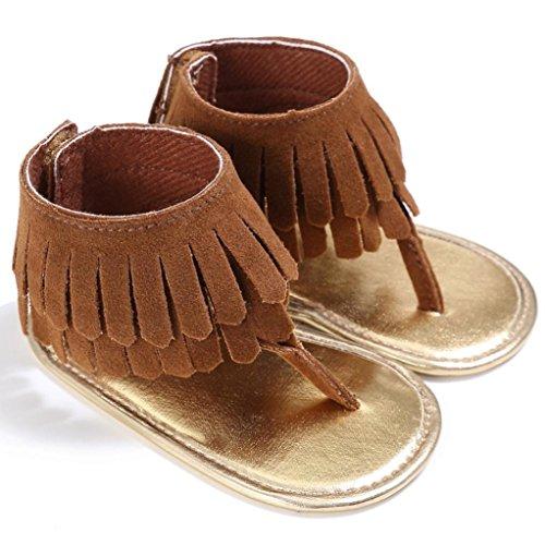 Sandalias para bebés, RETUROM Bebé la borla suave suela antideslizante sandalias zapatillas marrón