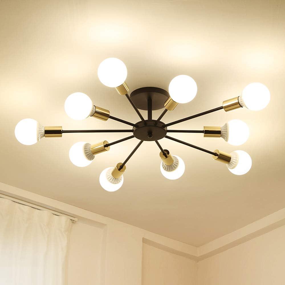Dellemade Sputnik Lámpara de araña de 10 luces en estilo antiguo, para comedor, salón, cocina, oficina, cafetería, restaurante, color negro
