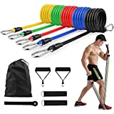 Iconites Resistance Bands Set (11 Pack), Exercises Bands with Handles, Legs Ankle Straps, Door Anchor and Waterproof Carry Bag for Home Workouts, Gym, Yoga