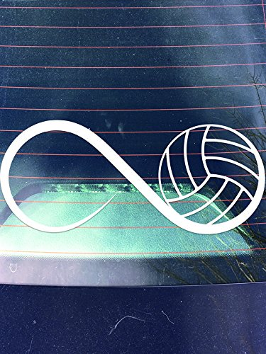 DD470 Volleyball Infinity Decal Sticker | 7.5-Inches By 2.5-Inches | Premium Quality White Vinyl