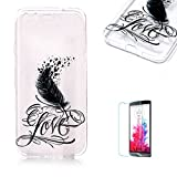 Google Pixel Case [with Free Screen Protector].Funyye Crystal Transparent Soft TPU Fashionable Pattern Design Shock Proof Protective Cover Case for Google Pixel-Feather Love