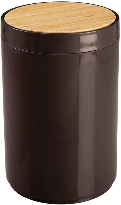 Mdesign Prullenbak Afvalbak Voor Badkamer En Slaapkamer Bamboe En Plastic Met Swing Deksel Klein Natuurlijk Chocolade Amazon Nl