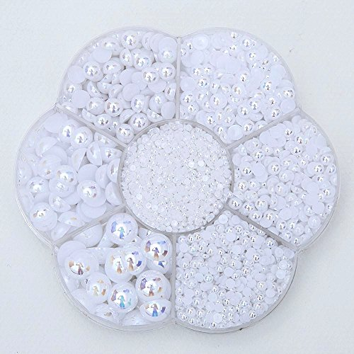 Approx 5600pcs Mixed Size DIY Half Pearl Bead Flat Back Plastic Craft Plastic Box (white) (Pearl Beads Bulk)