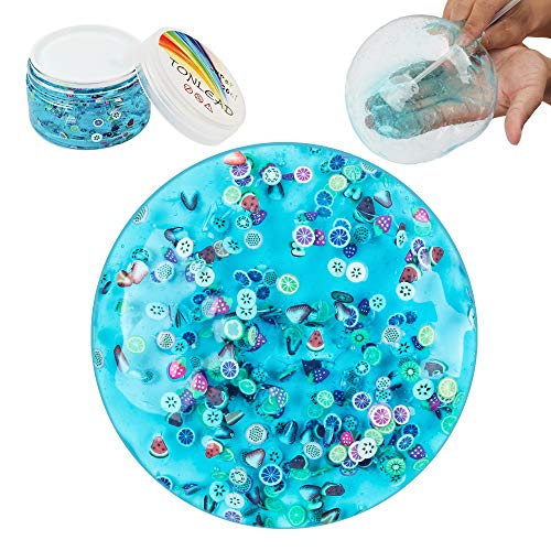 Clear Crystal Slime Mud with Fruit Slices, Soft Jelly Clay Stress Relief Toy Fluffy Slime for Girls Boys, Non Sticky DIY Putty Easy Bubble Slime with Container for Party Birthday Favor, Ocean Blue