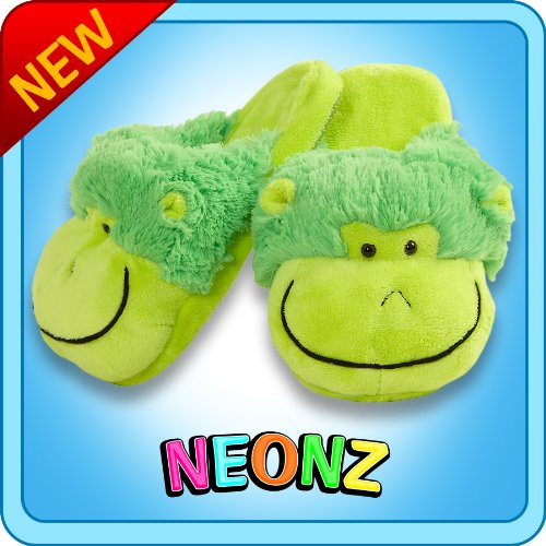 Pillow Pets Neon Monkey Slippers Small Kids Soft Chenille Plush Animal Slippers