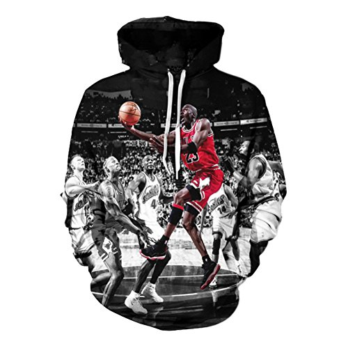 YOUR LOVE Clothes Michael Jordan Crewneck 3D Hoodie Pullover Sweatshirt (L)