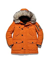 Evelin LEE Men's Winter Warm Thicken Cotton Down Parka Puffer Jacket With Fur Hood