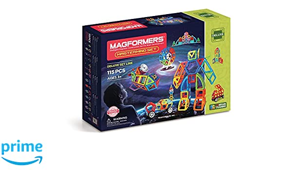 Amazon.com: Magformers Mastermind (115 Piece) Deluxe Set Magnetic Building Blocks, Educational Magnetic Tiles Kit , Magnetic Construction STEM Toy: Toys & ...