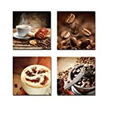 Wieco Art P4R1x1-08 4-Panel Canvas Print Warm Coffee Modern Canvas Wall Art, 12 by 12-Inch (Kitchen)