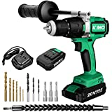 Cordless Drill Driver - 20V Brushless Compact Drill/Driver Kit -24 Position Keyless Clutch -3 Functions Setting W/ 13 Pieces Drill and Screwdriver Bits, 2 Batteries for Decoration, Installation