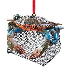 Beach Themed Christmas Ornaments Kurt Adler Blue Crab with Wire Cage Ornament beach themed christmas ornaments