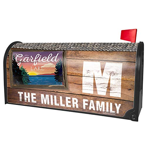 NEONBLOND Custom Mailbox Cover Lake Retro Design Lake Garfield ()