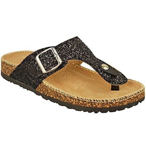 Size Slip Thirsty Glitter Fashion Glitter Toe Flip Black Flops Flat Post Womens On Grip Thong Sandals 0ffHnqUO