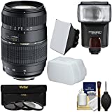 Tamron 70-300mm f/4-5.6 Di LD Macro 1:2 Zoom Lens with 3 Filters + Flash & 2 Diffusers + Kit for Canon EOS 6D, 70D, 5D Mark II III, Rebel T3, T3i, T4i, T5, T5i, SL1 DSLR Cameras