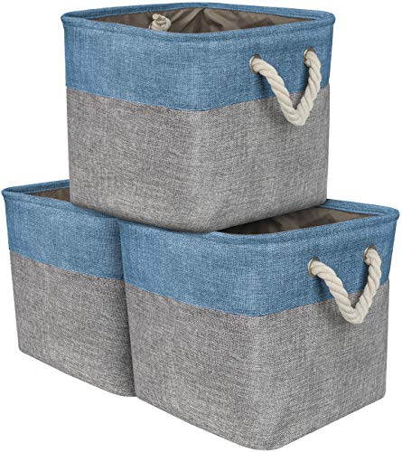 Sorbus Storage Large Basket Set [3-Pack] Big Rectangular Fabric Collapsible Organizer Bin with Cotton Rope Carry Handles for Linens, Toys, Clothes, Kids Room, Nursery (Woven Rope Basket - Aqua) (Woven Rope Boxes Set)
