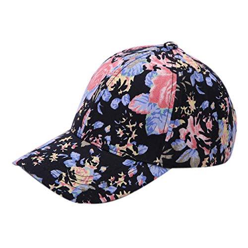 夏 女性 花 プリント野球のキャップ ヒップホップの帽子フラット 調節可能な コットンキャップ,ブラック,ドイツ