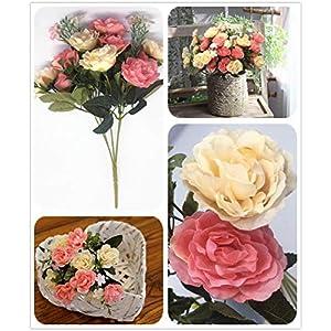 CATTREE Artificial Roses Flowers, Plastic Plants Silk Fake Rose Wedding Bridal Bouquet Party Indoor Outdoor DIY Home Garden Verandah Office Table Centerpieces Arrangements Decoration 4