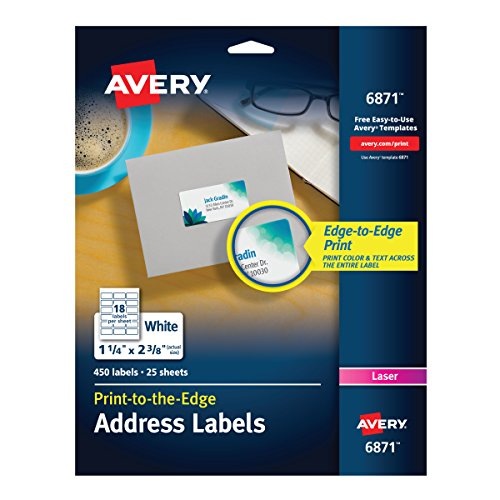 "Avery White Laser Labels for Color Printing, 1-1/4"" x 2-3/8"