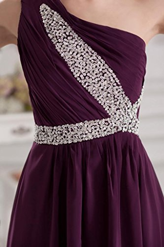 elegantes BRIDE ein Abendkleid Lila Lila lange GEORGE Chiffon Schulter xE41qHw