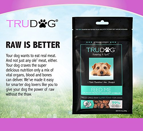 Real Meat Organic Dog Food-Feed Me: Freeze Dried Raw Superfood for Optimal Canine Health and Natural Longevity - All Natural - Balanced Nutrition - No Filters, No Grain - Just Add Water (Turkey, 14oz) by TruDog (Image #2)'