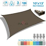 Patio Paradise 10' x 13' Brown Sun Shade Sail Rectangle Canopy - Permeable UV Block Fabric Durable Patio Outdoor - Customized Available