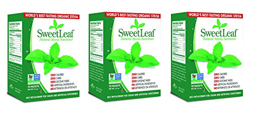 SweetLeaf Natural Stevia Sweetener, 70 Count 3 Pack