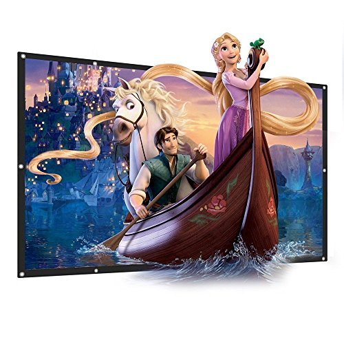 Projector Screen Indoor and Outdoor Movie Screen 120 inch Diagonal 16:9 HD PVC Fabric Foldable theater screen Easy Clean for Home Cinema Family Party Office Presentation [並行輸入品]   B07F3MSJHS