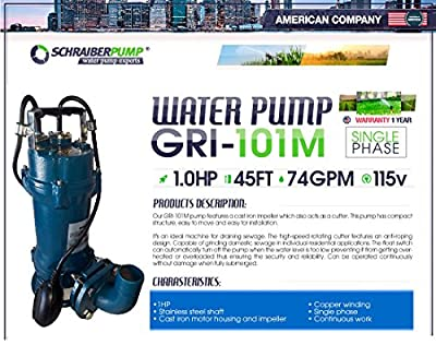 SCHRAIBERPUMP 1hp 115v Sewage Cutter Pump with Float Switch, 100% Cast Iron, 74 gpm, 45'lift, Heavy Duty, stainless steel grinder ring and impellers, 2 cutting instances, MODEL GRI-101M with 30ft of w