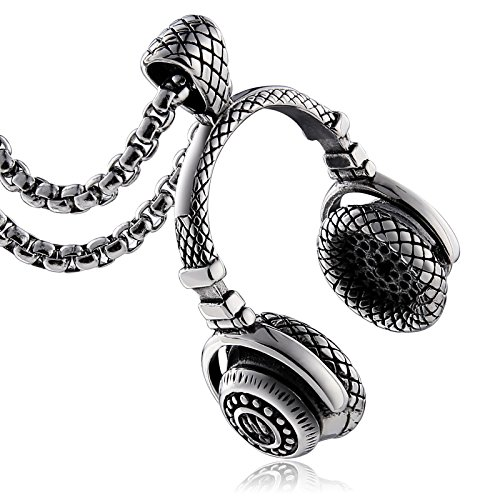 Aienid Pendant Necklace, Stainless Steel Headset Shaped Punk Style with 60CM Free Chain for Mens Silver
