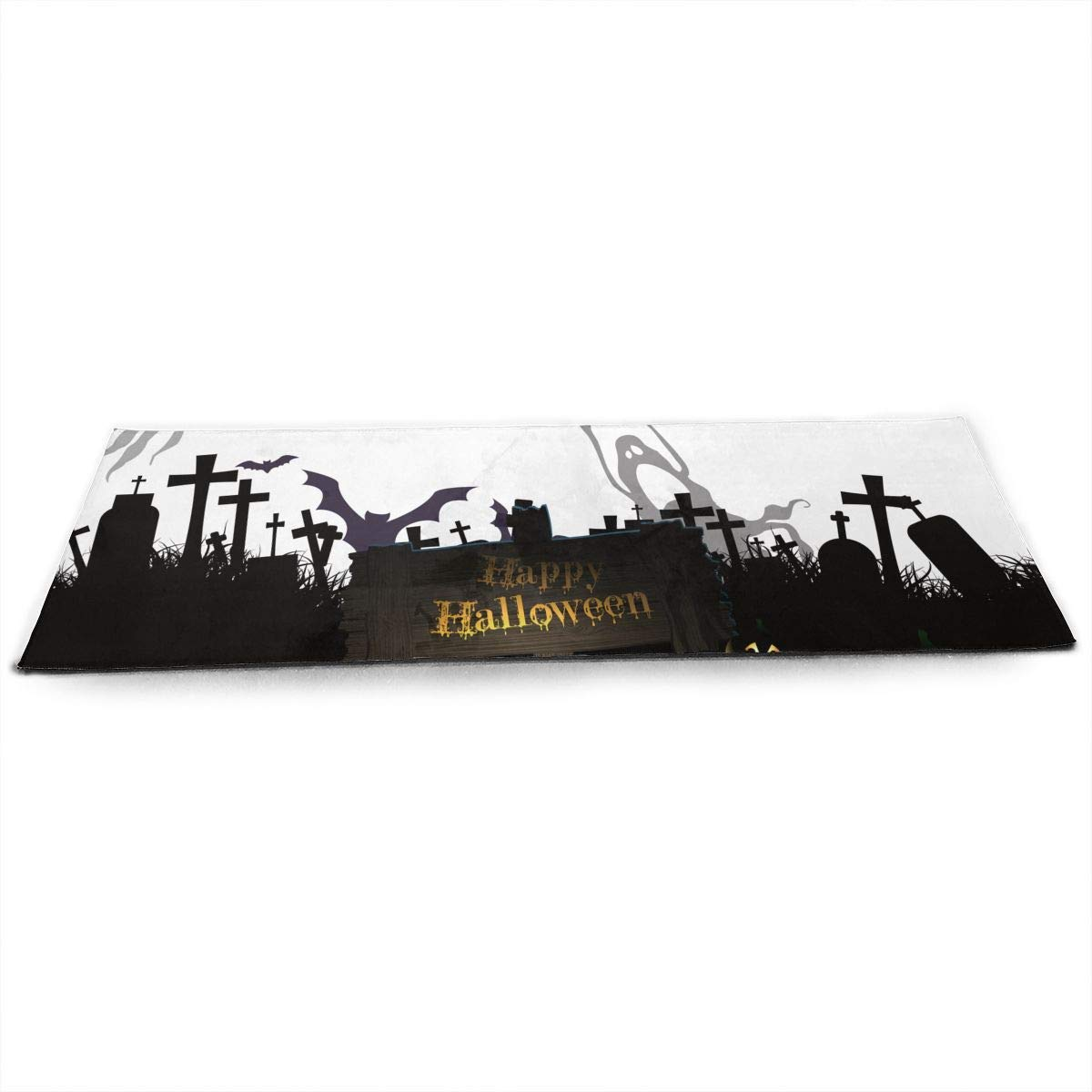 Happy Halloween Silhouette Cemetery Spooky ECO Aqua Power Kinematic Iyengar Kundini Hot Pilates Gymnastics Hatha Yoga Mat Exercise Mat