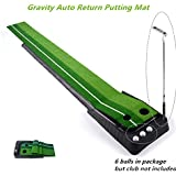 "Locisne Entraînement Putter Tige Poussoir Set de retour Golf d'intérieur automatique Hazard Mat Putt, Professional Mini Entraînement Portable Golf formateur Putting Green avec Return Plateau-11.81 ""* 118.11"" +6 balles de golf"