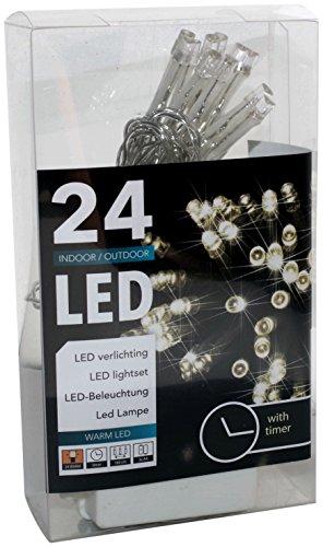 Led Lichterkette Batterie Timer 24 Lämpchen warmweiß für innen und außen (20094)