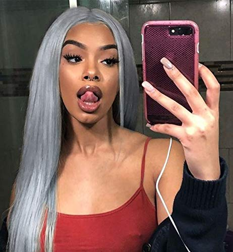 Vedar Flawless Hairline Smokey Grey Lace Front Wigs Fashion Silver Grey Hair Deep Grey Synthetic Lace Wig Silky Hair Soft Touching Straight Wigs Middle Parting 24 inch -