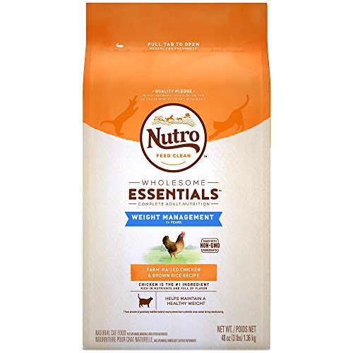 NUTRO WHOLESOME ESSENTIALS Weight Management Farm-Raised Chicken & Brown Rice Recipe Adult Dry Cat Food 3 (Brown Rice Weight)