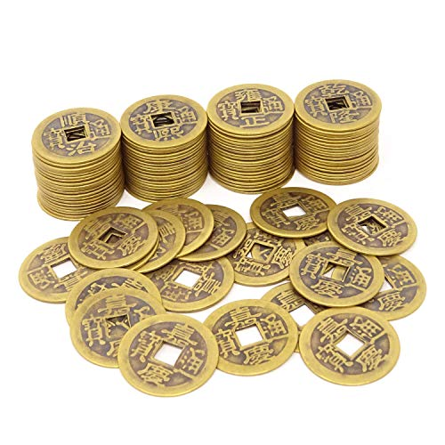 HONBAY 100PCS Ancient Chinese Dynasty Time Coin Chinese Good Luck Coins Fortune Coins Feng Shui I-Ching Coins for Wealth and ()