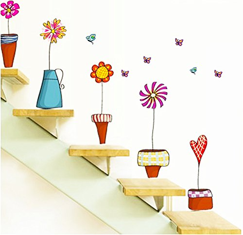 Cartoon Flowers Wall Windows Decal Stickers Vinyl Wall Decor PVC Removable Mural Wallpaper DIY for Home Room Decor Restaurant Store Decoration (Colorful Flowers)
