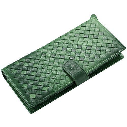 Sheepskin Long Wallet (Contacts Womens Genuine Leather Sheepskin Woven Bifold Long Wallet Clutch Purse Green)