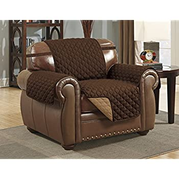 Linen Store Quilted Reversible Microfiber Pet Furniture Protector Cover  With Strap, Coffee/Tan,