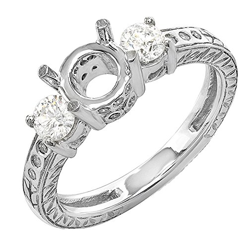 Dazzlingrock Collection 0.50 Carat (ctw) 14K Round Cut Diamond Semi Mount Bridal Engagement Ring 1/2 CT, White Gold, Size 6
