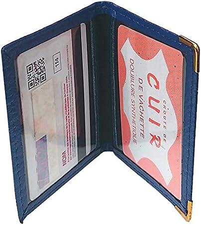 Porte-Cartes Cuir 2 Emplacements pour 2 Cartes Bancaires Cr/édit ou Fid/élit/é Marron Fon/ç/é
