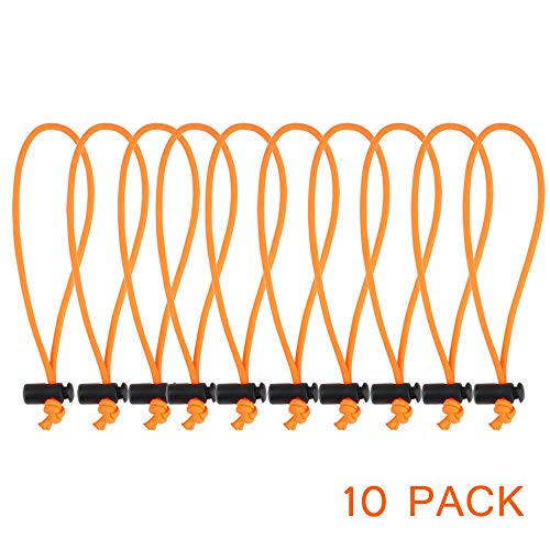 POWRIG 6 Bungee Cords Adjustable Cable Ties Cable management Reusable -Orange (10-pack)