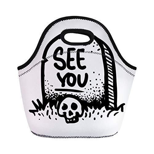 Semtomn Lunch Bags Etched Engraved Dark Humor Jokes Contemporary Street Work Sketch Neoprene Lunch Bag Lunchbox Tote Bag Portable Picnic Bag Cooler Bag -