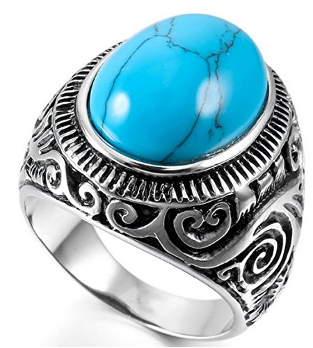UNAPHYO Men's Vintage Gothic Biker Stainless Steel Classic Oval Blue Turquoise Ring Band Size 12